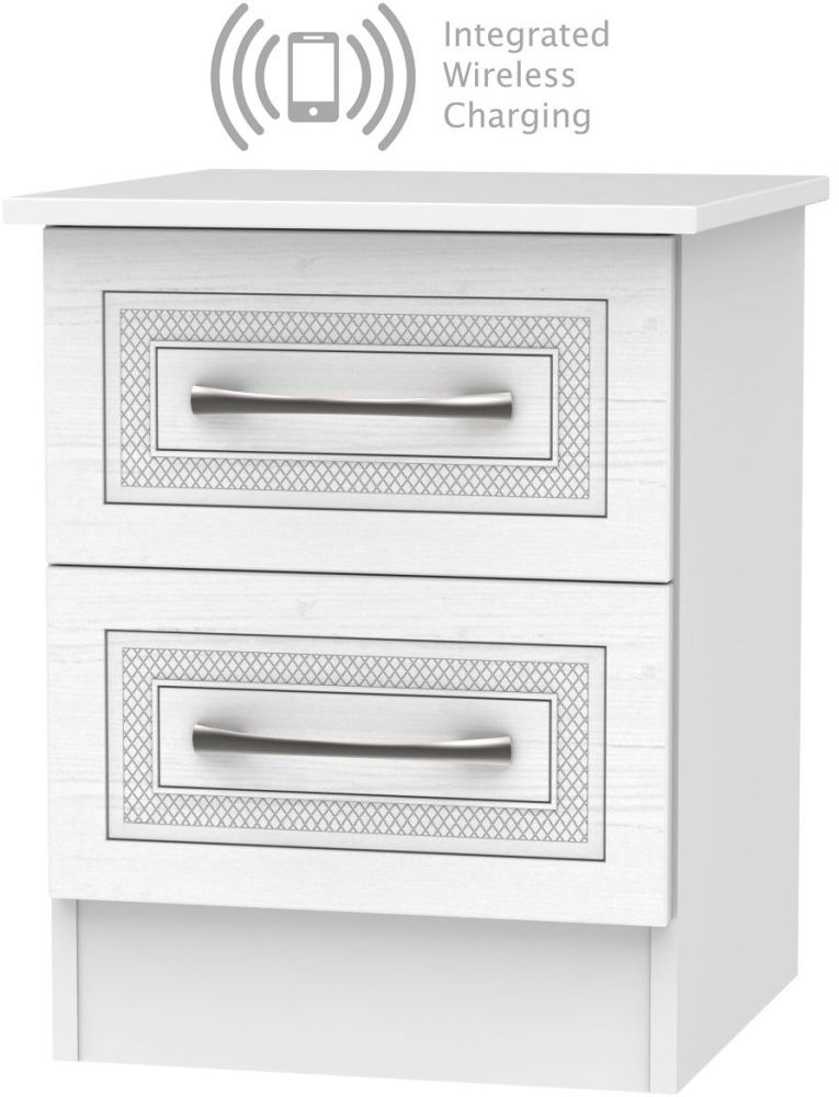 Dorset White 2 Drawer Bedside Cabinet with Integrated Wireless Charging
