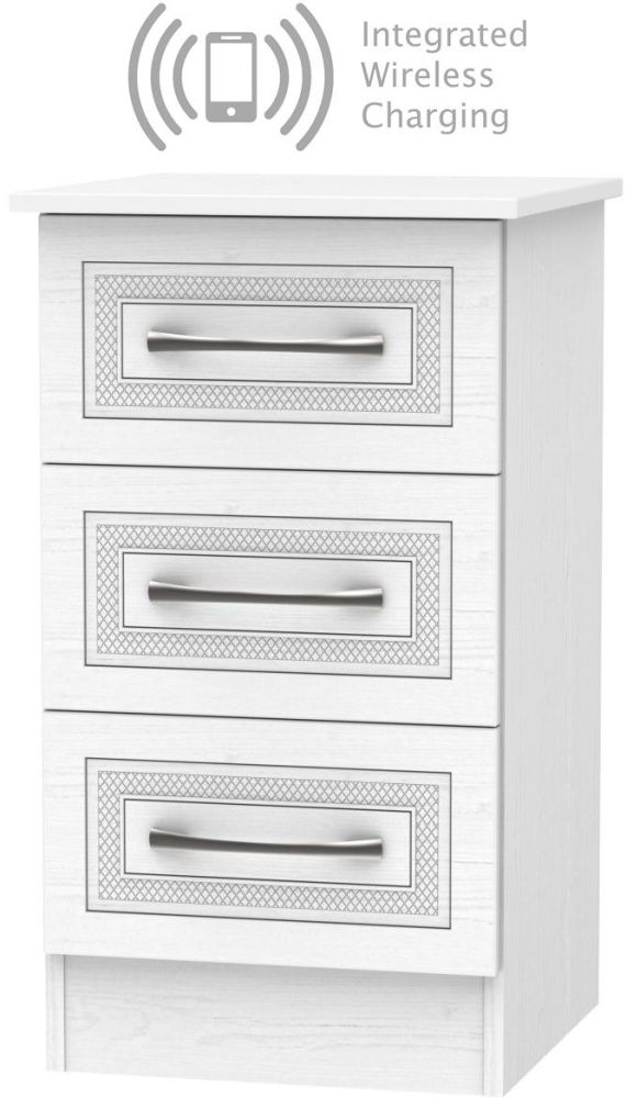 Dorset White 3 Drawer Bedside Cabinet with Integrated Wireless Charging