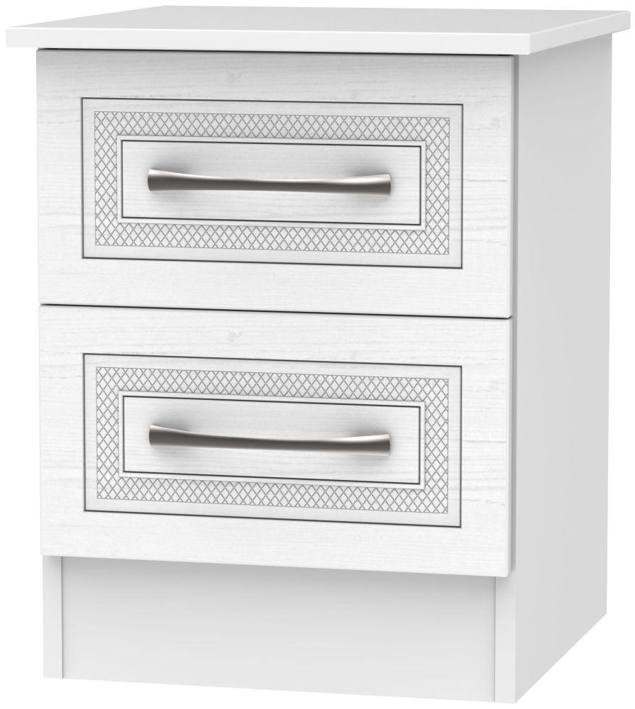 Dorset White 2 Drawer Bedside Cabinet