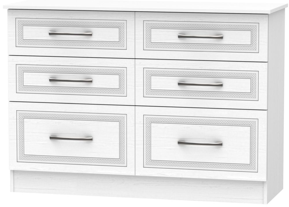Dorset White 6 Drawer Midi Chest