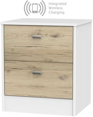 Dubai 2 Drawer Bedside Cabinet with Integrated Wireless Charging - Bordeaux Oak and White
