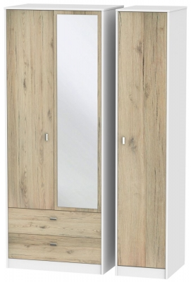 Dubai 3 Door 2 Left Drawer Combi Wardrobe - Bordeaux Oak and White