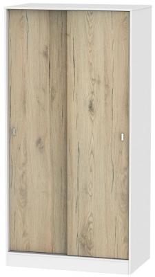 Dubai 2 Door Sliding Wardrobe - Bordeaux Oak and White