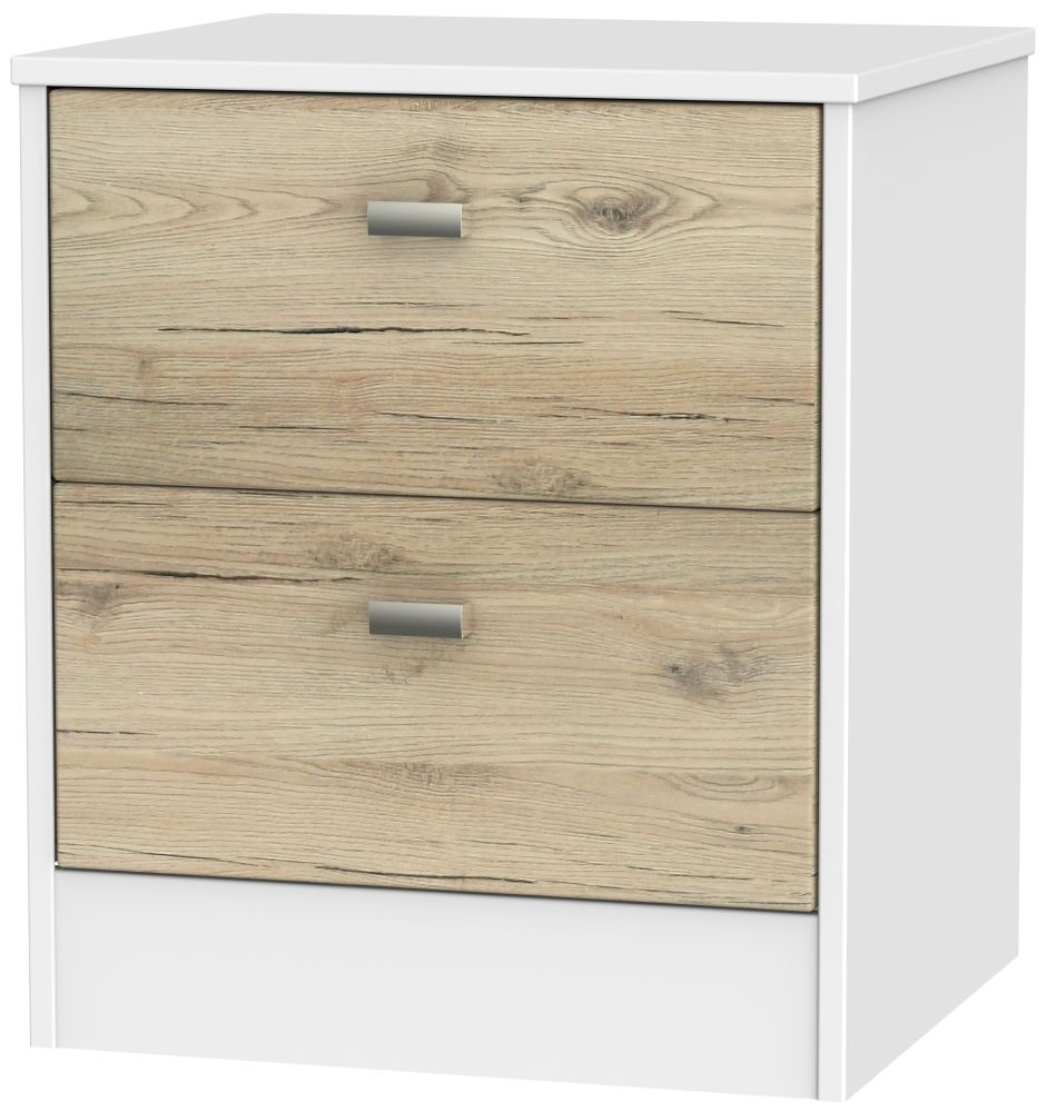 Dubai 2 Drawer Bedside Cabinet - Bordeaux Oak and White