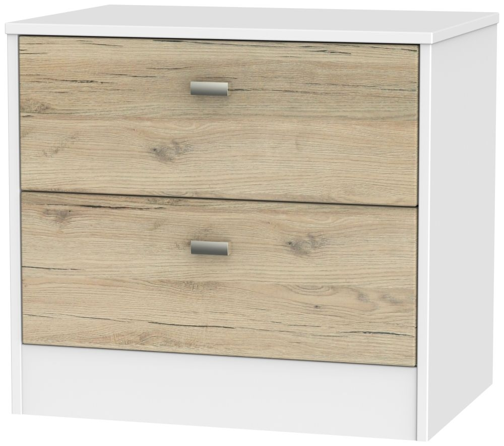Dubai Bordeaux Oak and White 2 Drawer Midi Chest
