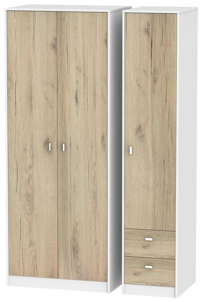 Dubai 3 Door 2 Right Drawer Wardrobe - Bordeaux Oak and White