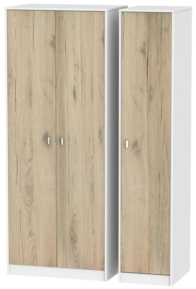 Dubai Bordeaux Oak and White Triple Wardrobe - Tall Plain