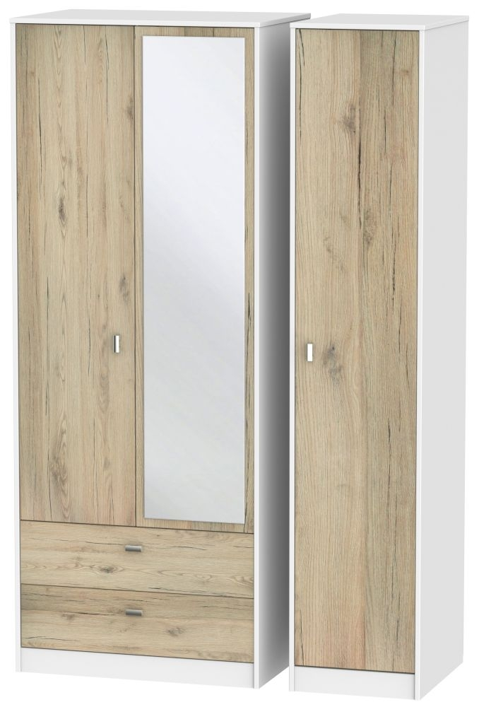 Dubai Bordeaux Oak and White 3 Door 2 Left Drawer Tall Mirror Triple Wardrobe
