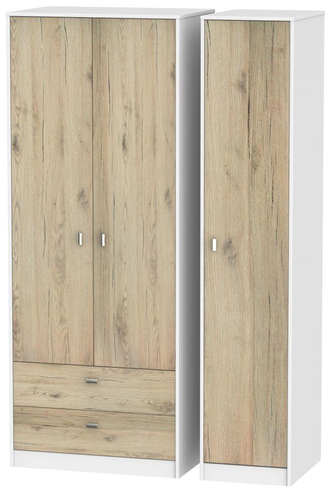 Dubai Bordeaux Oak and White 3 Door 2 Drawer Tall Triple Wardrobe