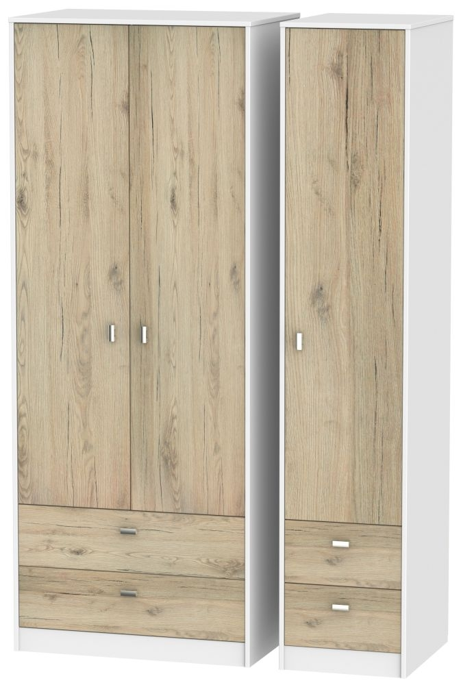Dubai 3 Door 4 Drawer Wardrobe - Bordeaux Oak and White
