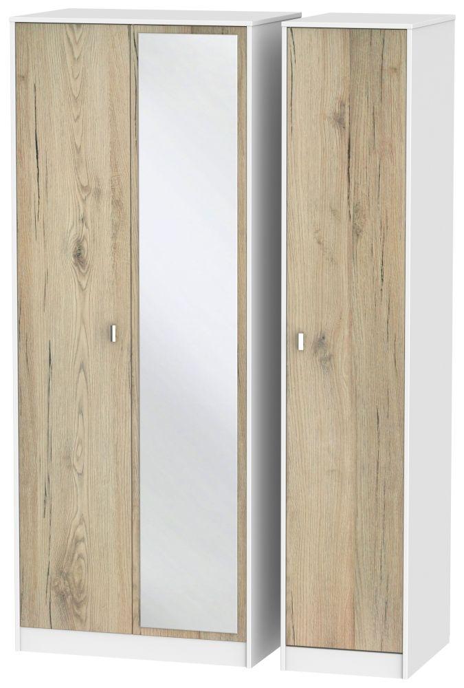 Dubai 3 Door Mirror Wardrobe - Bordeaux Oak and White