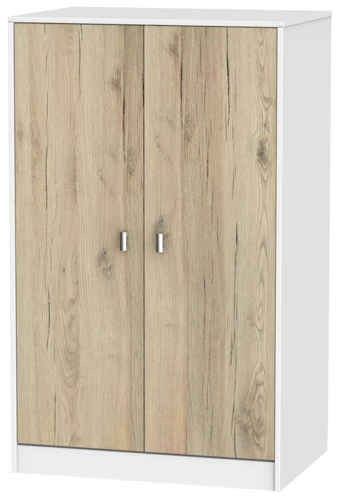 Dubai Bordeaux Oak and White 2 Door Plain Midi Wardrobe