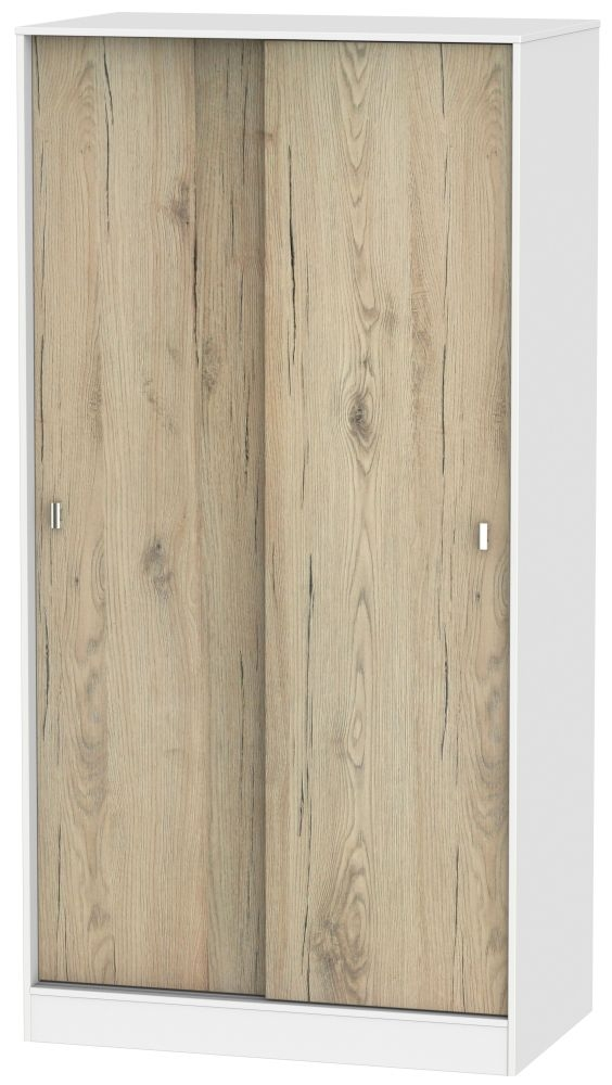 Dubai Bordeaux Oak and White Wardrobe Sliding - 100cm Wide