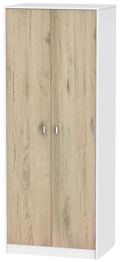 Dubai Bordeaux Oak and White 2 Door Tall Plain Double Wardrobe