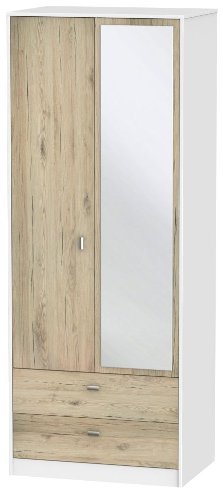 Dubai 2 Door Combi Wardrobe - Bordeaux Oak and White