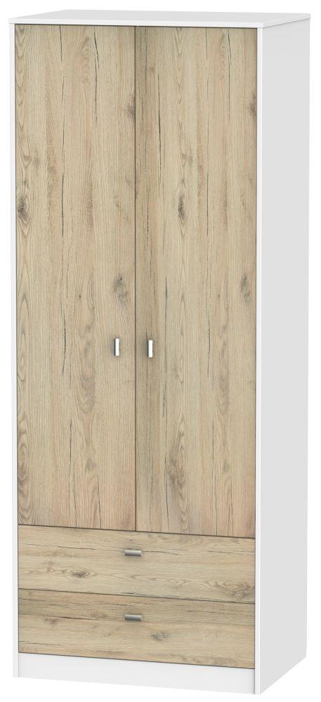 Dubai 2 Door 2 Drawer Wardrobe - Bordeaux Oak and White
