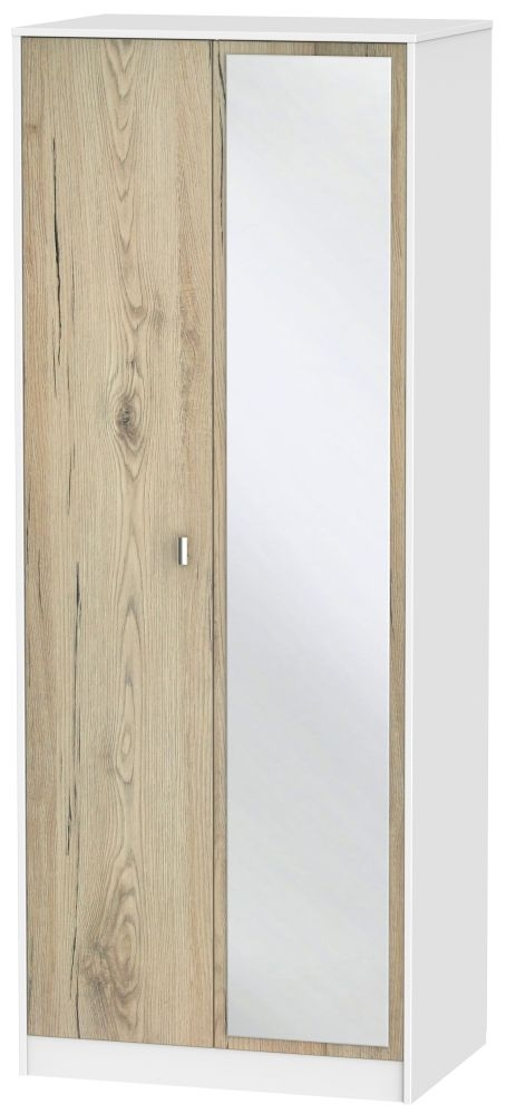 Dubai 2 Door Mirror Wardrobe - Bordeaux Oak and White