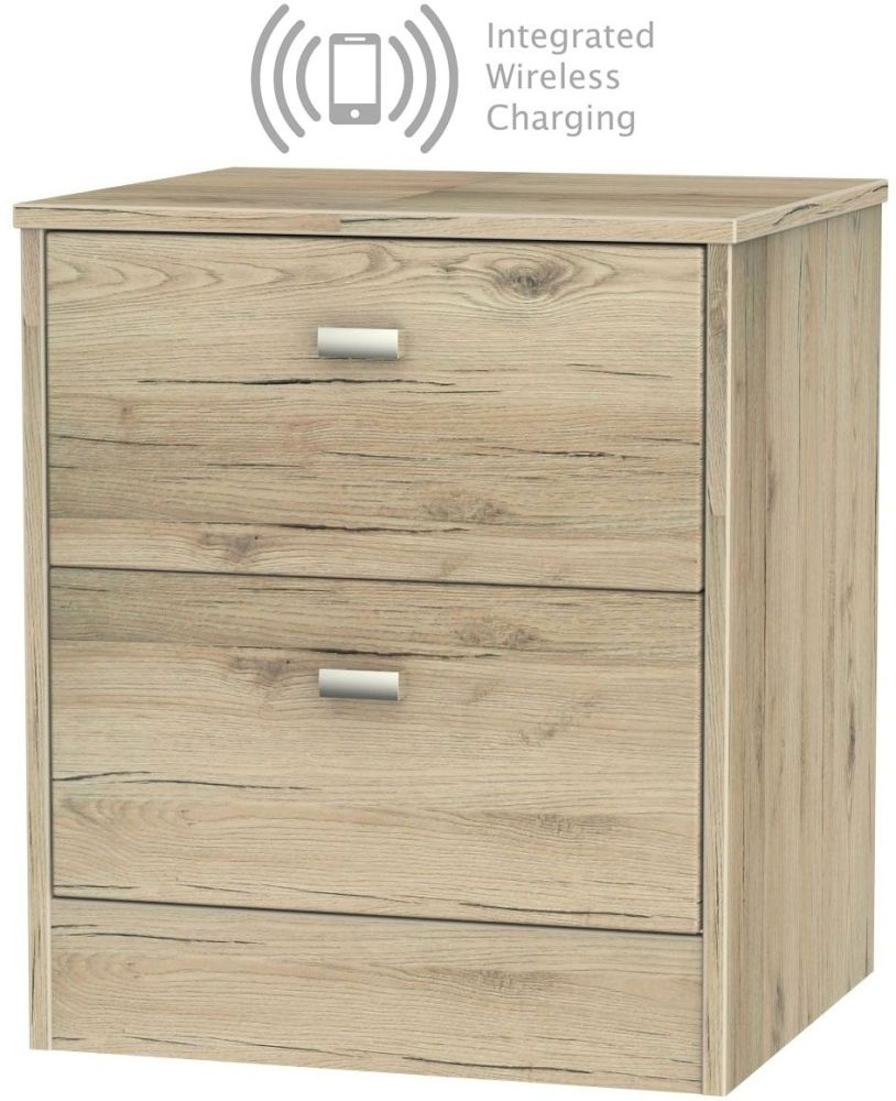 Dubai Bordeaux Oak 2 Drawer Bedside Cabinet with Integrated Wireless Charging