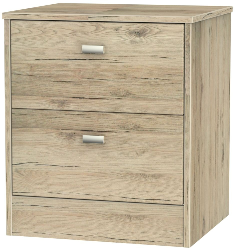 Dubai Bordeaux Oak 2 Drawer Locker Bedside Cabinet