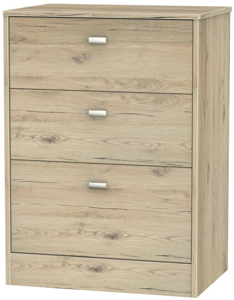 Dubai Bordeaux Oak Chest of Drawer - 3 Drawer Midi