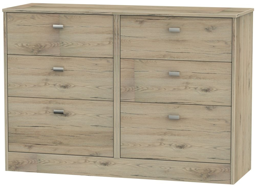 Dubai Bordeaux Oak Chest of Drawer - 6 Drawer Midi