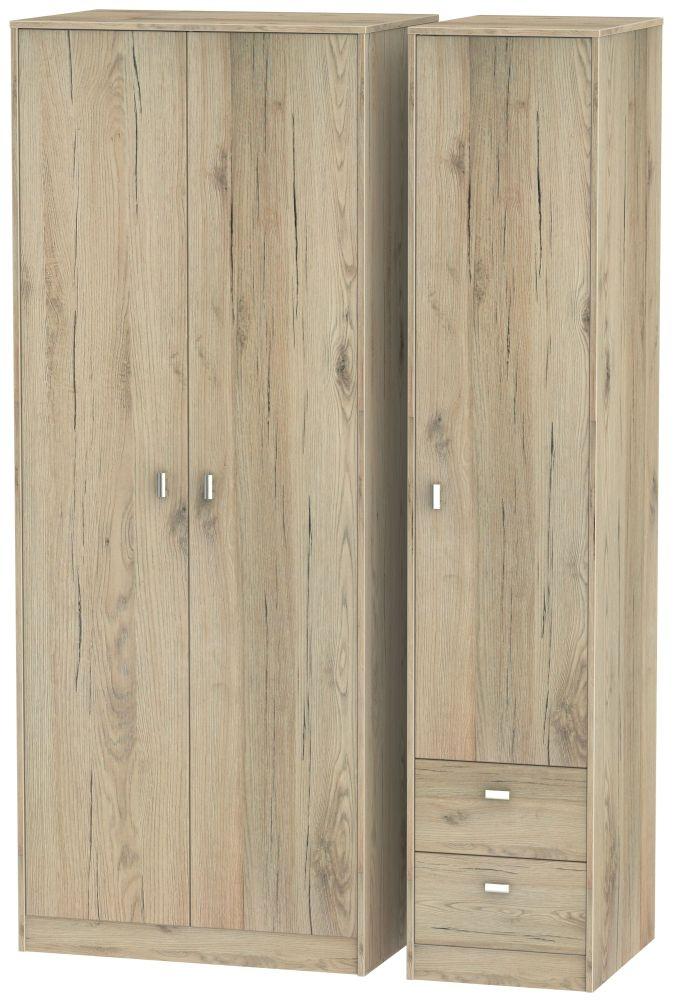 Dubai Bordeaux Oak 3 Door 2 Drawer Tall Plain Triple Wardrobe
