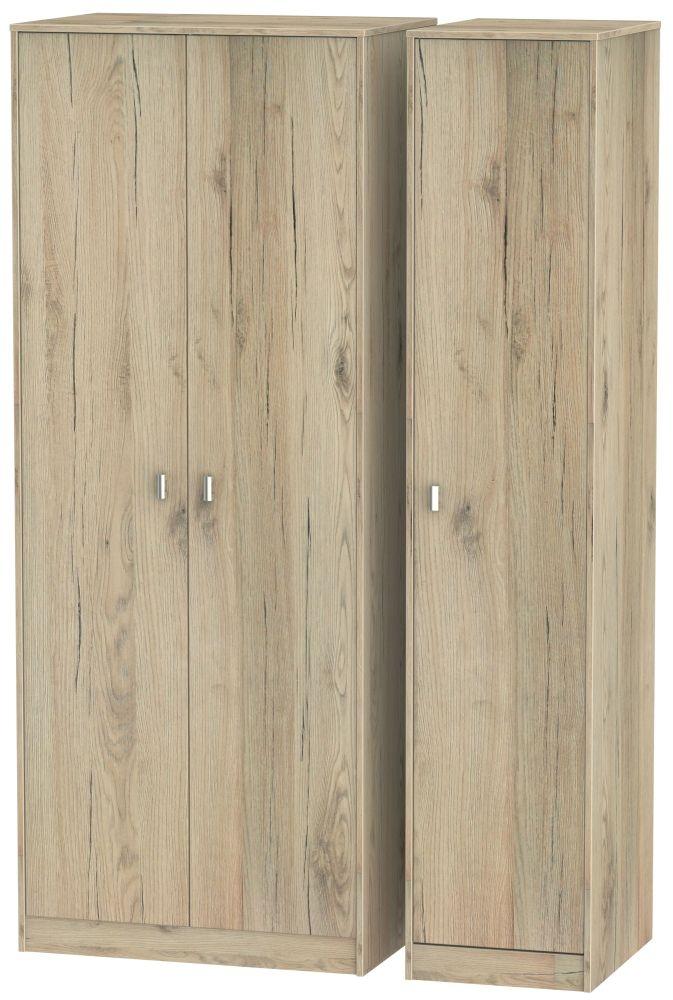 Dubai Bordeaux Oak Triple Wardrobe - Tall Plain