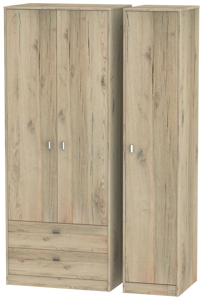 Dubai Bordeaux Oak 3 Door 2 Drawer Tall Triple Wardrobe