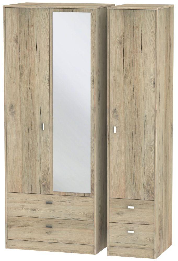 Dubai Bordeaux Oak 3 Door 4 Drawer Combi Wardrobe