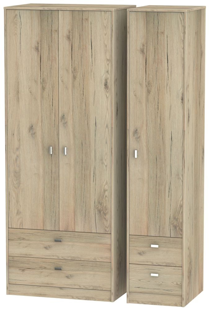 Dubai Bordeaux Oak 3 Door 4 Drawer Wardrobe