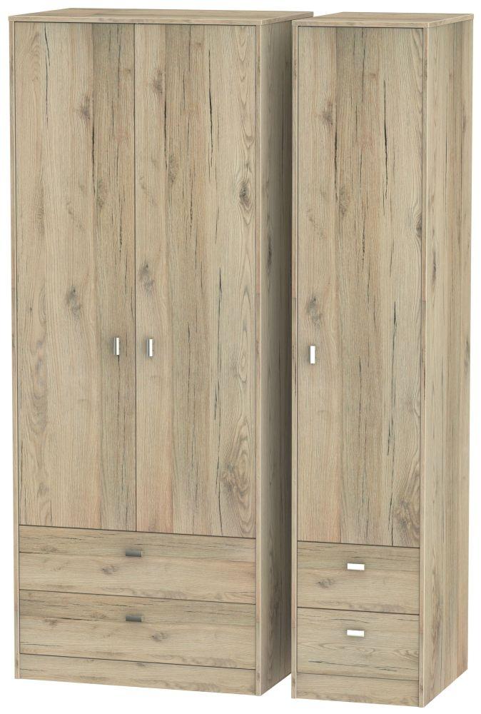 Dubai Bordeaux Oak 3 Door 4 Drawer Tall Triple Wardrobe