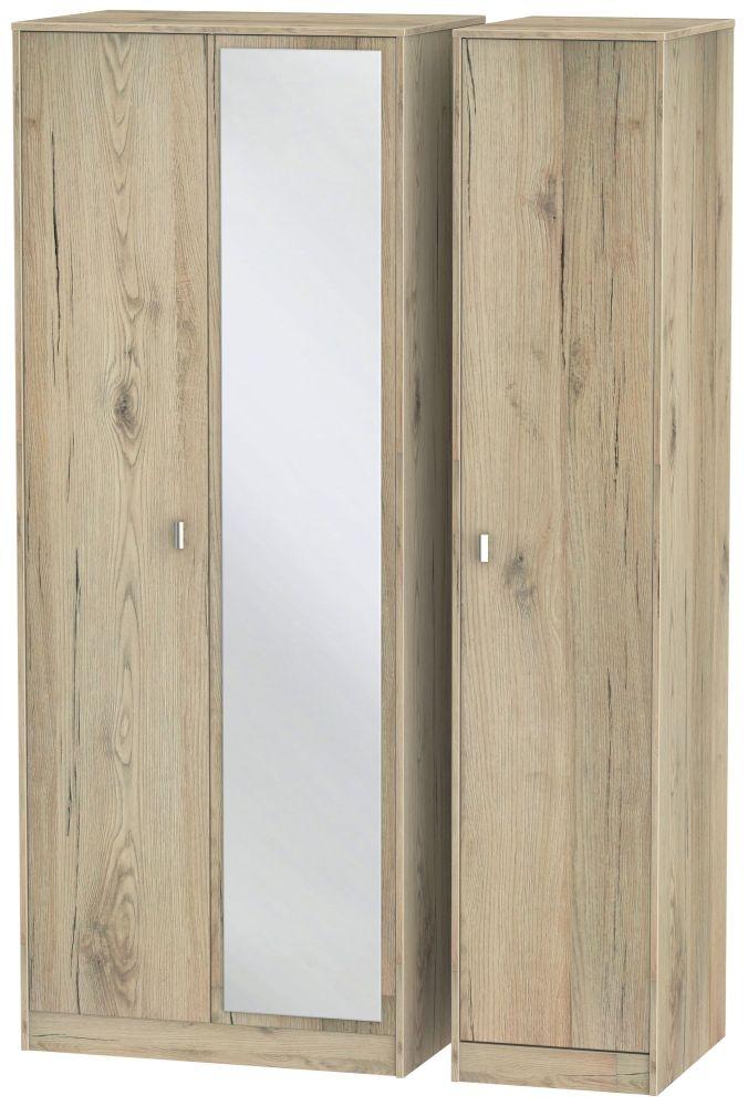 Dubai Bordeaux Oak 3 Door Tall Mirror Triple Wardrobe