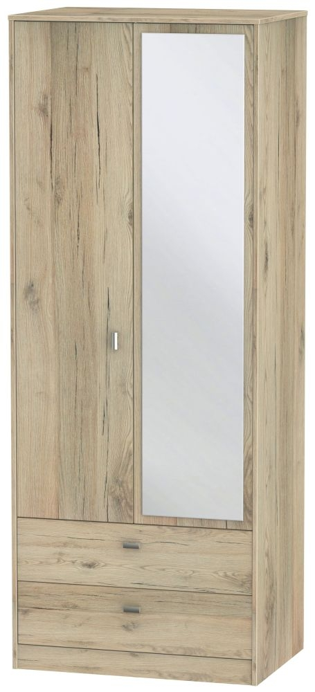 Dubai Bordeaux Oak 2 Door Combi Wardrobe