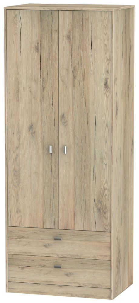 Dubai Bordeaux Oak 2 Door 2 Drawer Tall Double Wardrobe
