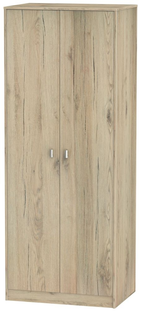 Dubai Bordeaux Oak 2 Door Tall Double Hanging Wardrobe