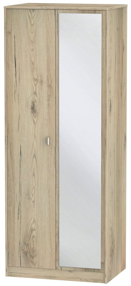 Dubai Bordeaux Oak 2 Door Tall Mirror Double Wardrobe