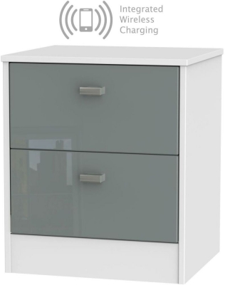 Dubai 2 Drawer Bedside Cabinet with Integrated Wireless Charging - High Gloss Grey and White