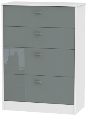 Dubai 4 Drawer Deep Chest - High Gloss Grey and White