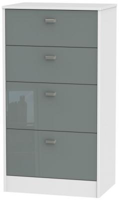 Dubai 4 Drawer Midi Chest - High Gloss Grey and White