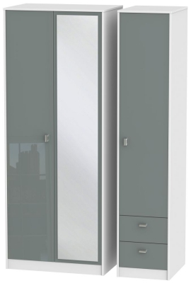 Dubai 3 Door 2 Right Drawer Combi Wardrobe - High Gloss Grey and White