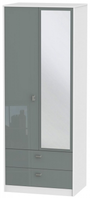 Dubai 2 Door Combi Wardrobe - High Gloss Grey and White