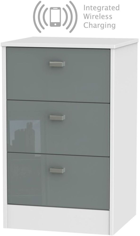 Dubai 3 Drawer Bedside Cabinet with Integrated Wireless Charging - High Gloss Grey and White