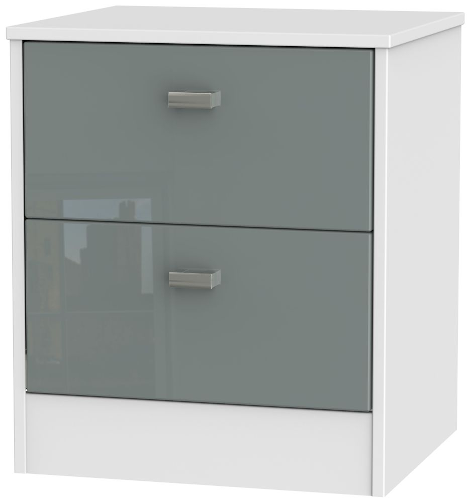 Dubai High Gloss Grey and White 2 Drawer Locker Bedside Cabinet