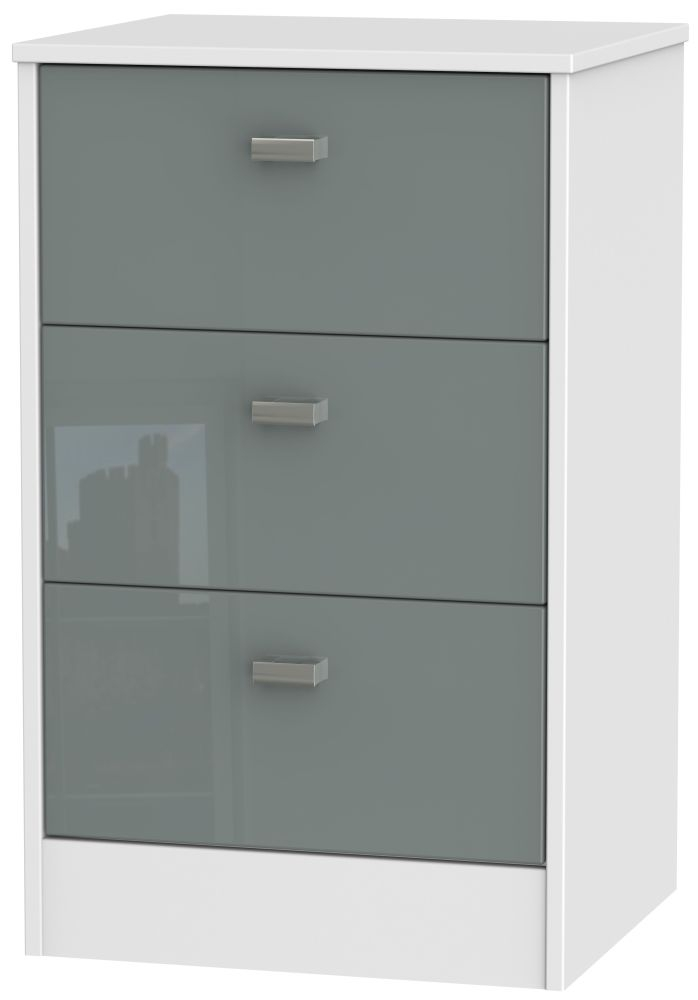 Dubai High Gloss Grey and White 3 Drawer Locker Bedside Cabinet