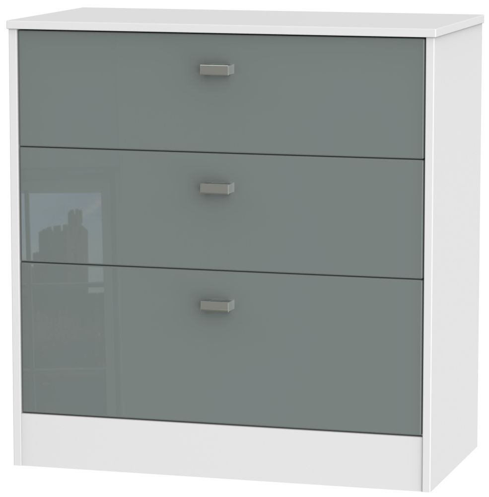 Dubai 3 Drawer Deep Chest - High Gloss Grey and White