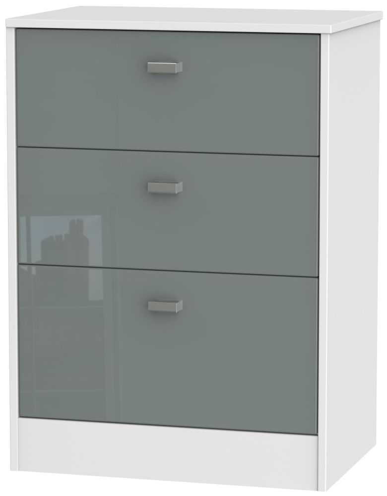 Dubai High Gloss Grey and White 3 Drawer Midi Chest
