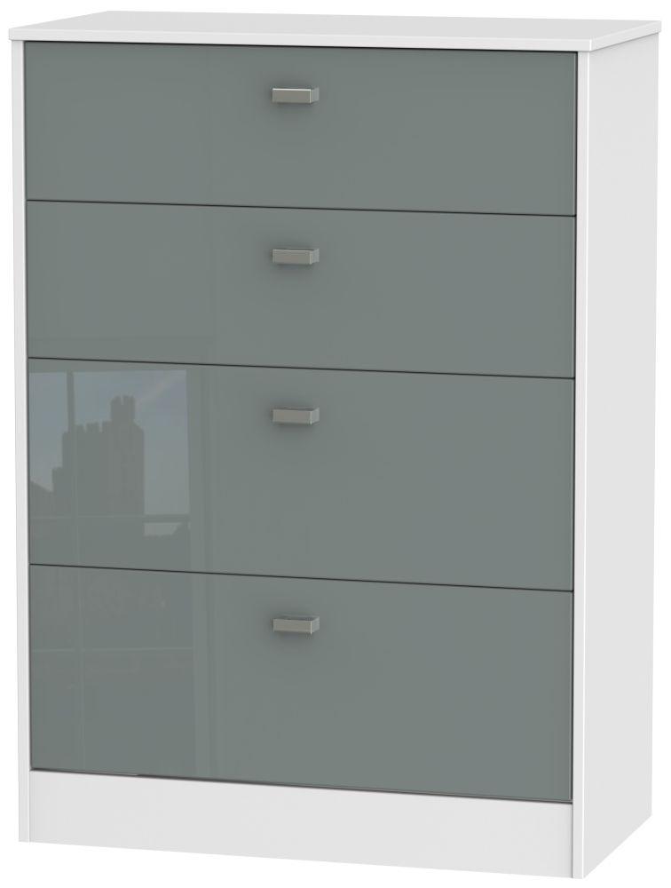 Dubai High Gloss Grey and White 4 Drawer Deep Chest