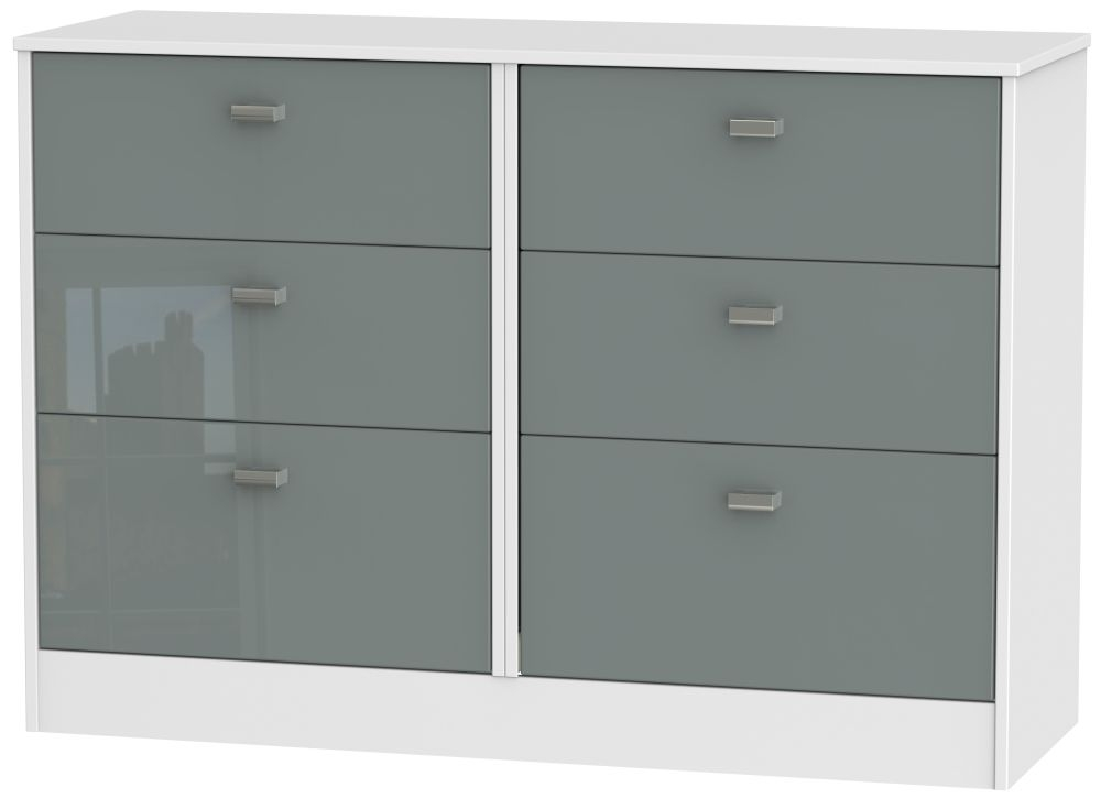 Dubai 6 Drawer Midi Chest - High Gloss Grey and White