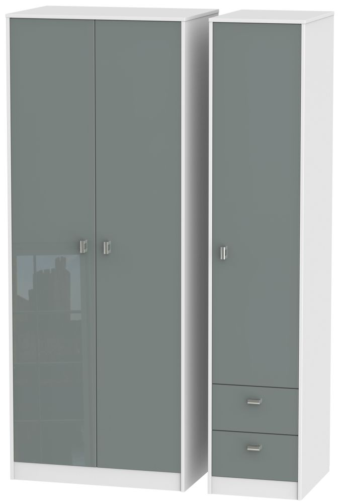 Dubai 3 Door 2 Right Drawer Wardrobe - High Gloss Grey and White