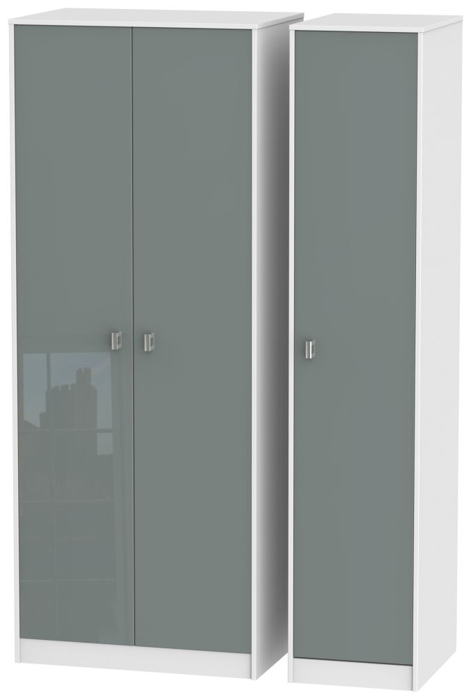 Dubai High Gloss Grey and White 3 Door Tall Plain Triple Wardrobe